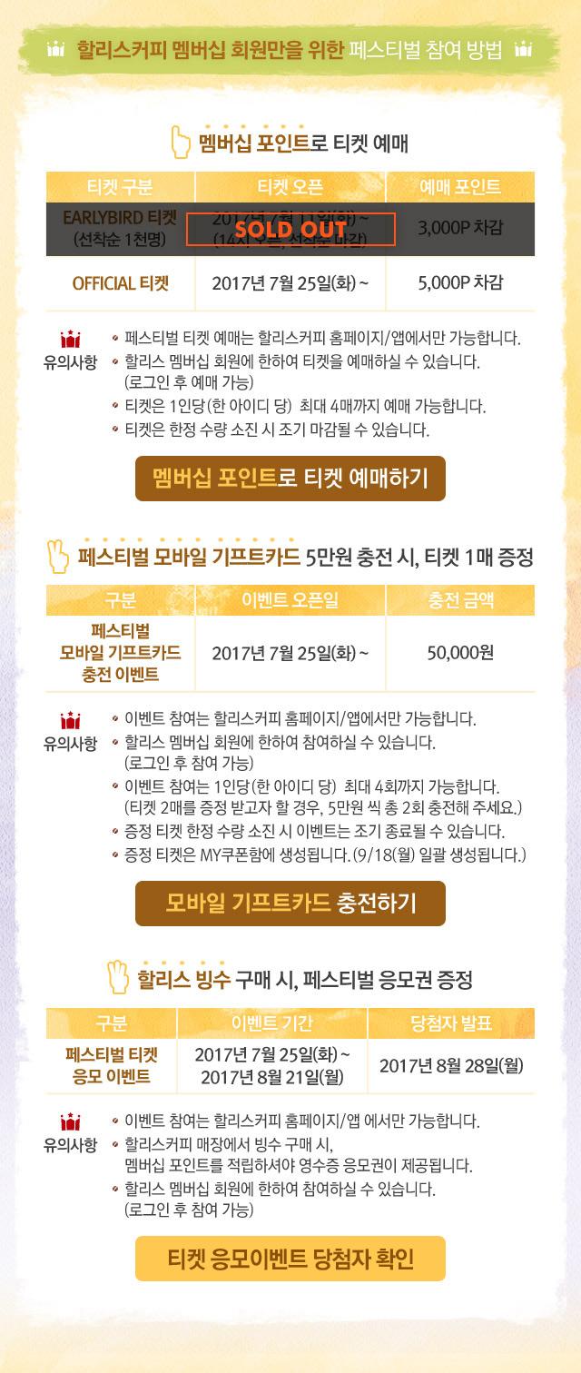 할리스커피 멤버십 회원만을 위한 페스티벌 참여 방법